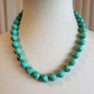 Marbleized Teal and Brown Beaded Necklace
